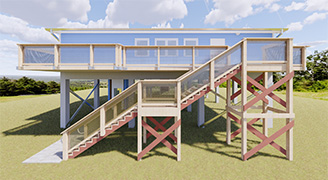 """Gulf Specimens Marine Lab Classroom"" - The Hammond Design Group, LLC was contracted in 2020 to design a classroom to Gulf Specimen Marine Lab in Panacea, Florida. This building is an addition to a marine life education center. The building is designed to act as a classroom and lab for all ages, young kids to adults. The building consists of 1920 square feet and is constructed of wood with a concrete platform, elevated 15 feet on concrete columns.  The facility is comprised of a classroom, lab, wet lab, man and women restrooms, front and back deck, office, storage, and a lift.  The project is currently in the permitting stage and is anticipated for construction to start late January 2021."